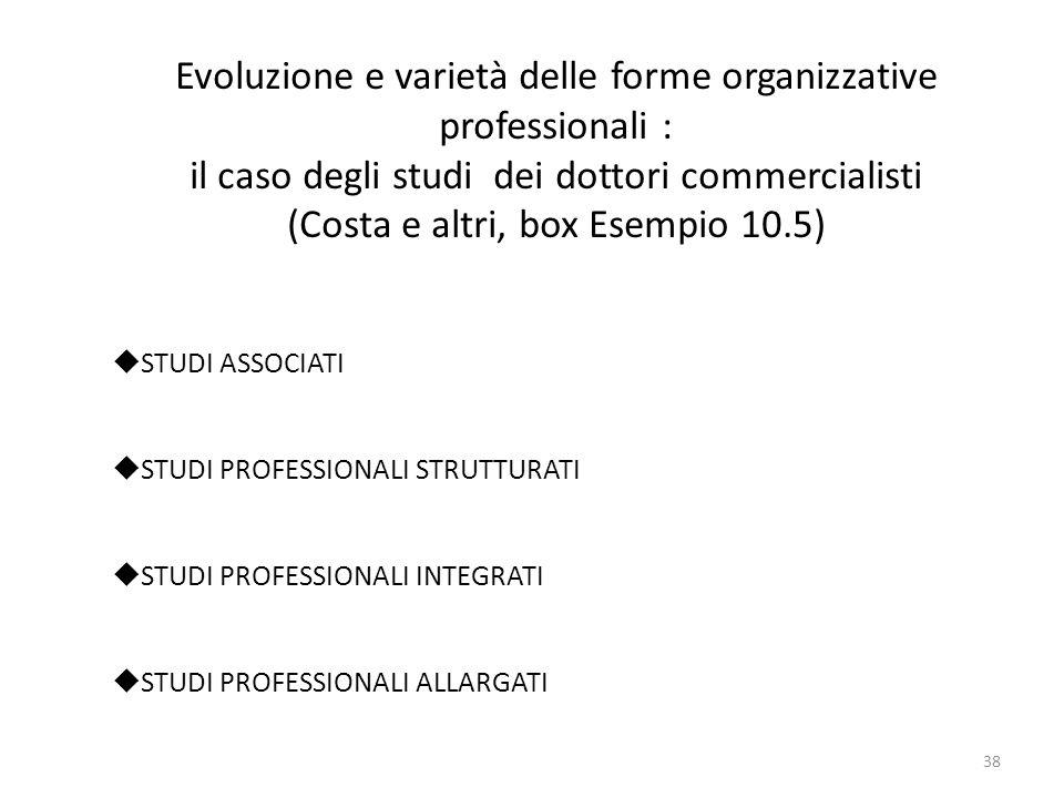 Evoluzione e varietà delle forme organizzative professionali : il caso degli studi dei dottori commercialisti (Costa e altri, box Esempio 10.5)  STUD