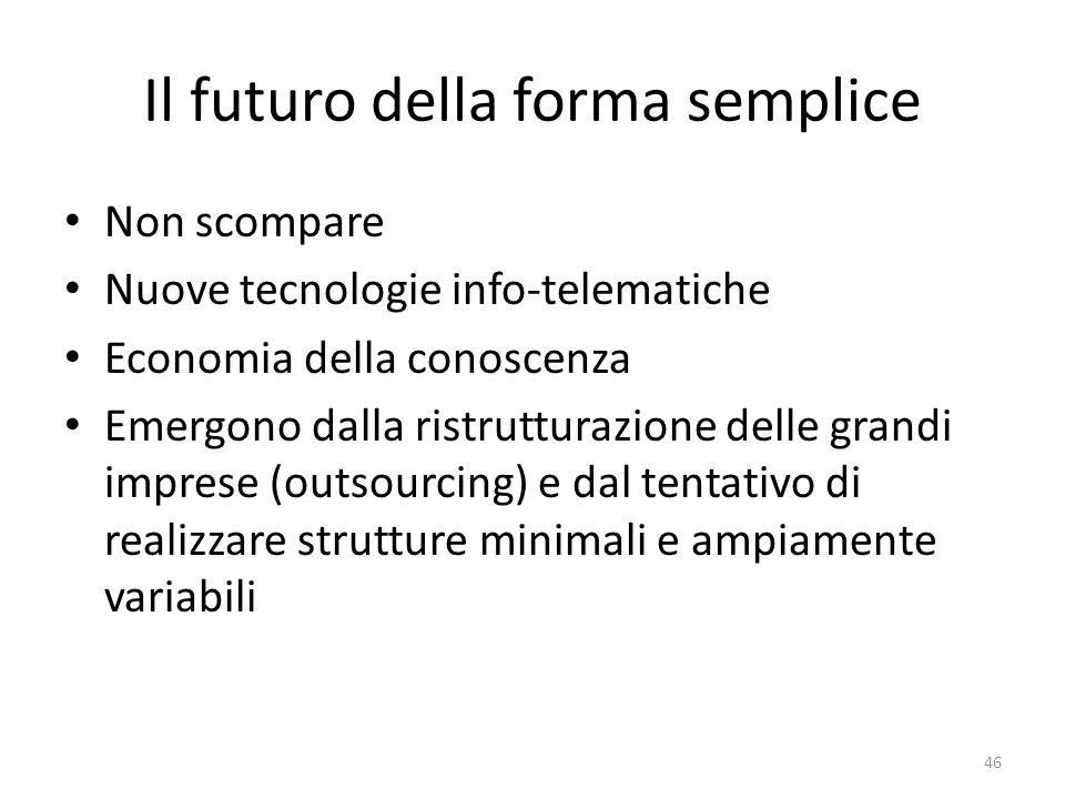 Il futuro della forma semplice Non scompare Nuove tecnologie info-telematiche Economia della conoscenza Emergono dalla ristrutturazione delle grandi i