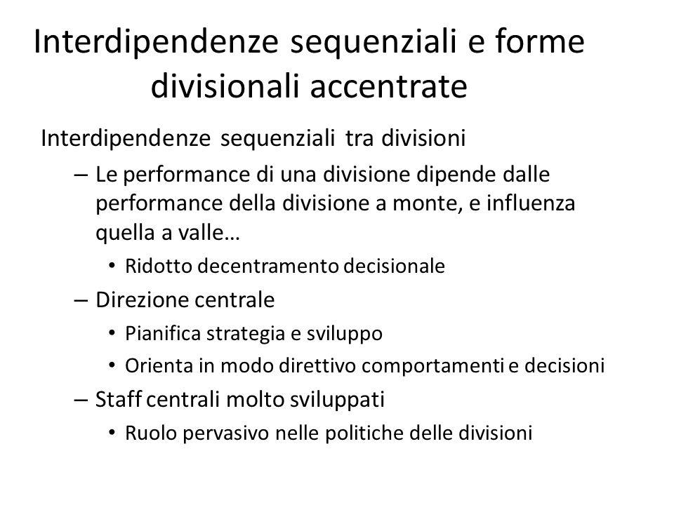 Interdipendenze sequenziali e forme divisionali accentrate Interdipendenze sequenziali tra divisioni – Le performance di una divisione dipende dalle p