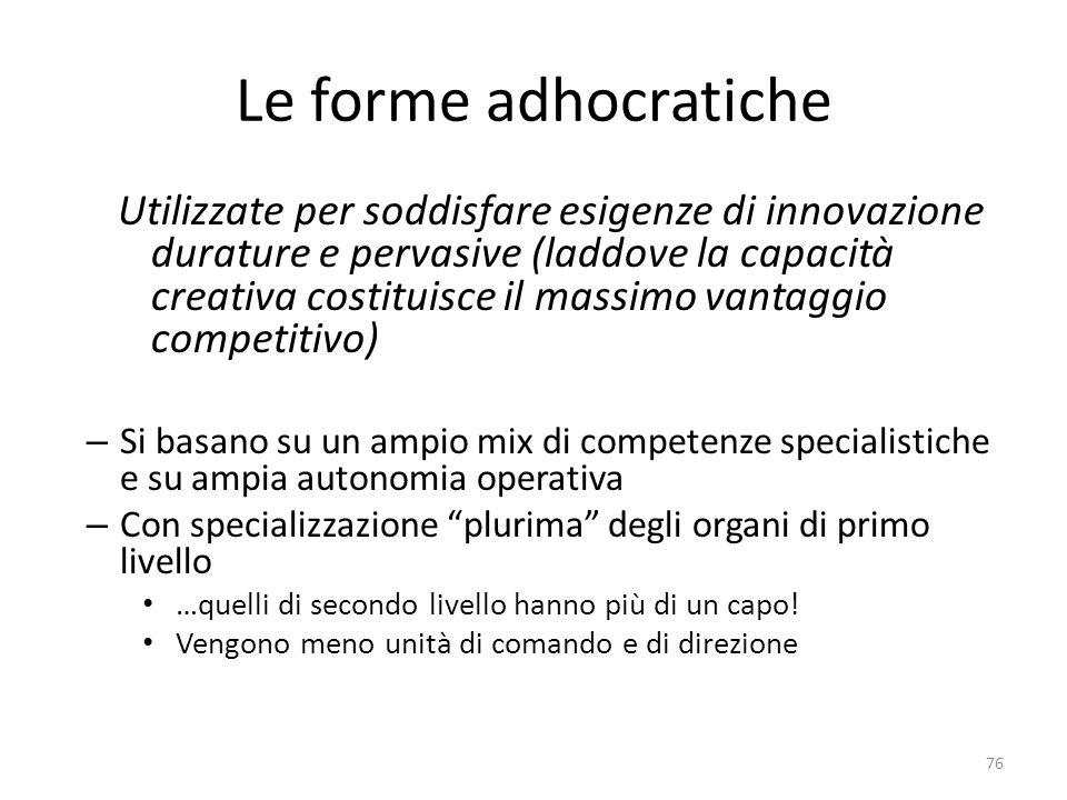 Le forme adhocratiche Utilizzate per soddisfare esigenze di innovazione durature e pervasive (laddove la capacità creativa costituisce il massimo vant