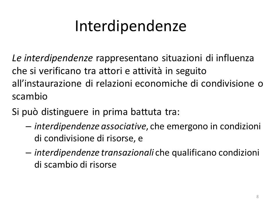Interdipendenze Le interdipendenze rappresentano situazioni di influenza che si verificano tra attori e attività in seguito all'instaurazione di relaz