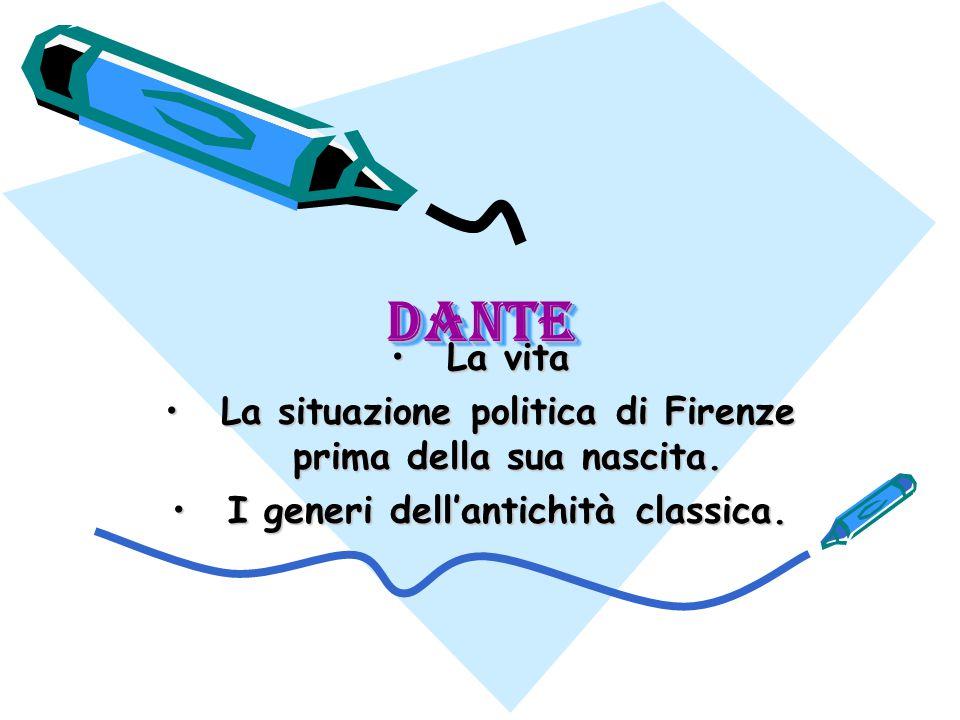 Dante Dante La vitaLa vita La situazione politica di Firenze prima della sua nascita.La situazione politica di Firenze prima della sua nascita.