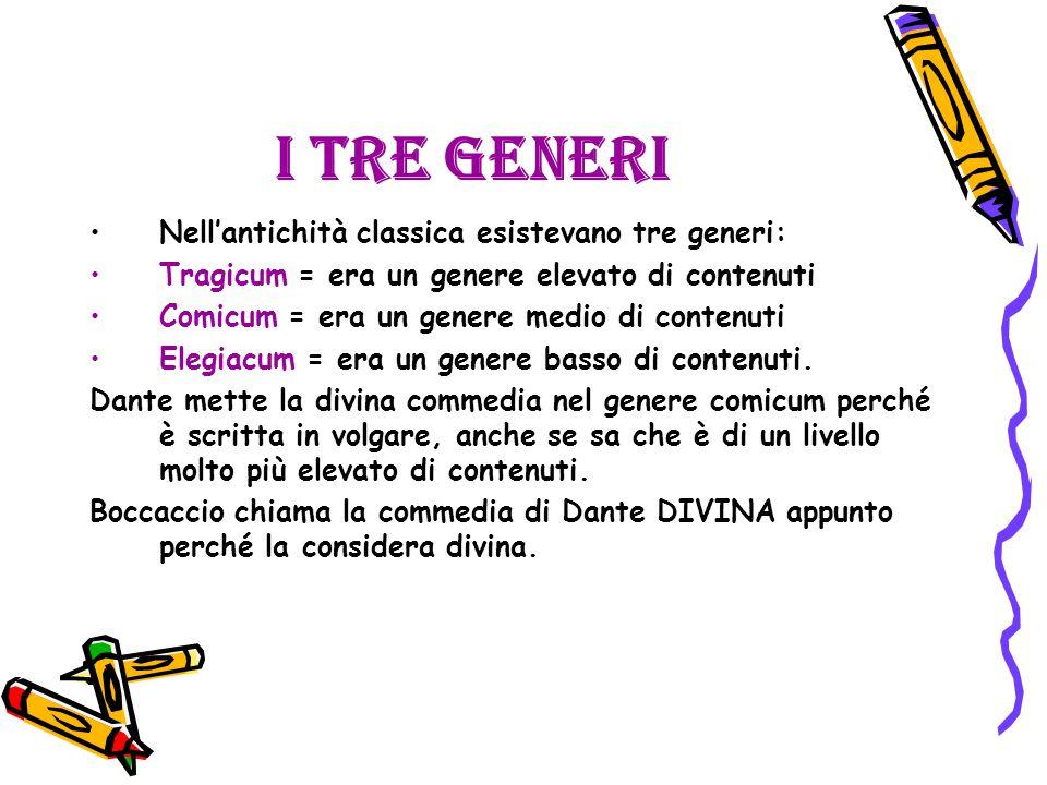 I tre generi Nell'antichità classica esistevano tre generi: Tragicum = era un genere elevato di contenuti Comicum = era un genere medio di contenuti Elegiacum = era un genere basso di contenuti.