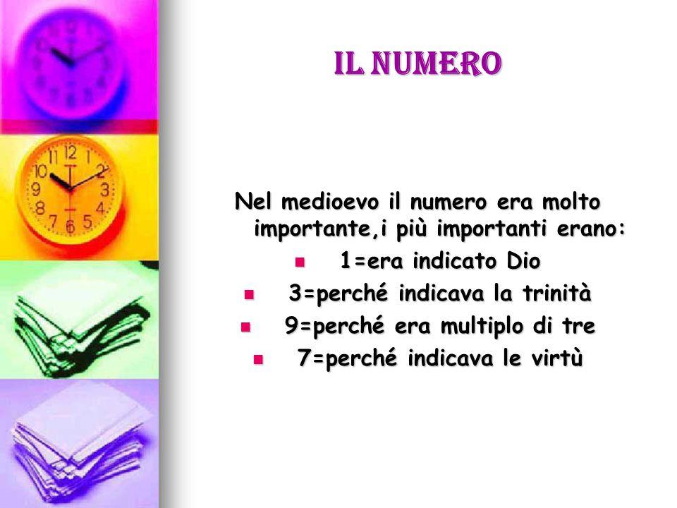 Il numero Nel medioevo il numero era molto importante,i più importanti erano: 1=era indicato Dio 1=era indicato Dio 3=perché indicava la trinità 3=perché indicava la trinità 9=perché era multiplo di tre 9=perché era multiplo di tre 7=perché indicava le virtù 7=perché indicava le virtù