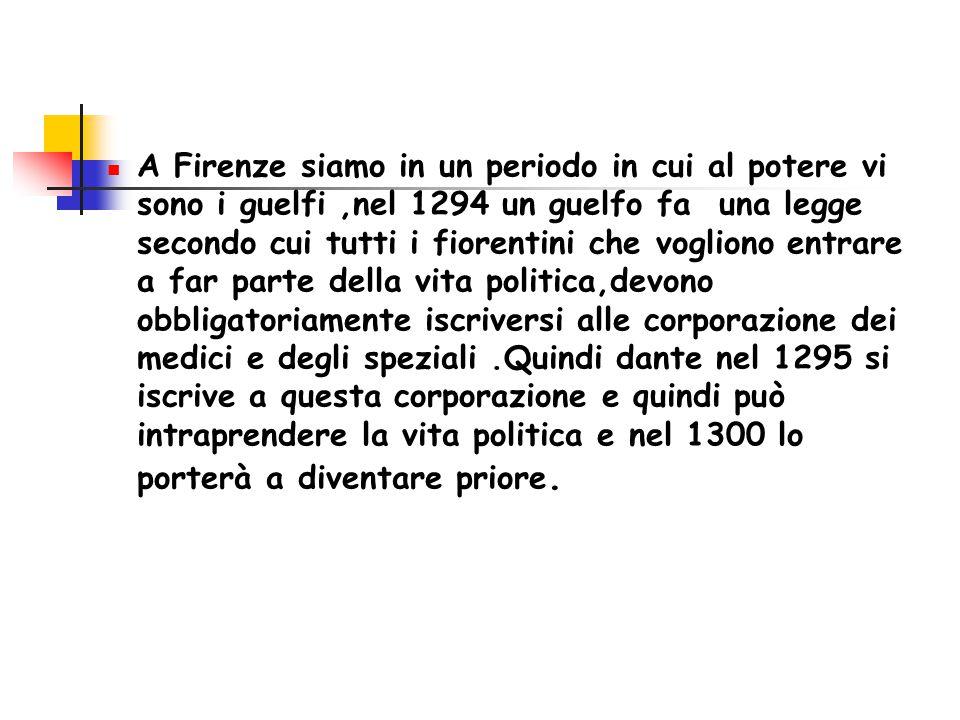 A Firenze c'erano lotte interne tra: Guelfi bianchi, di cui faceva parte anche Dante.