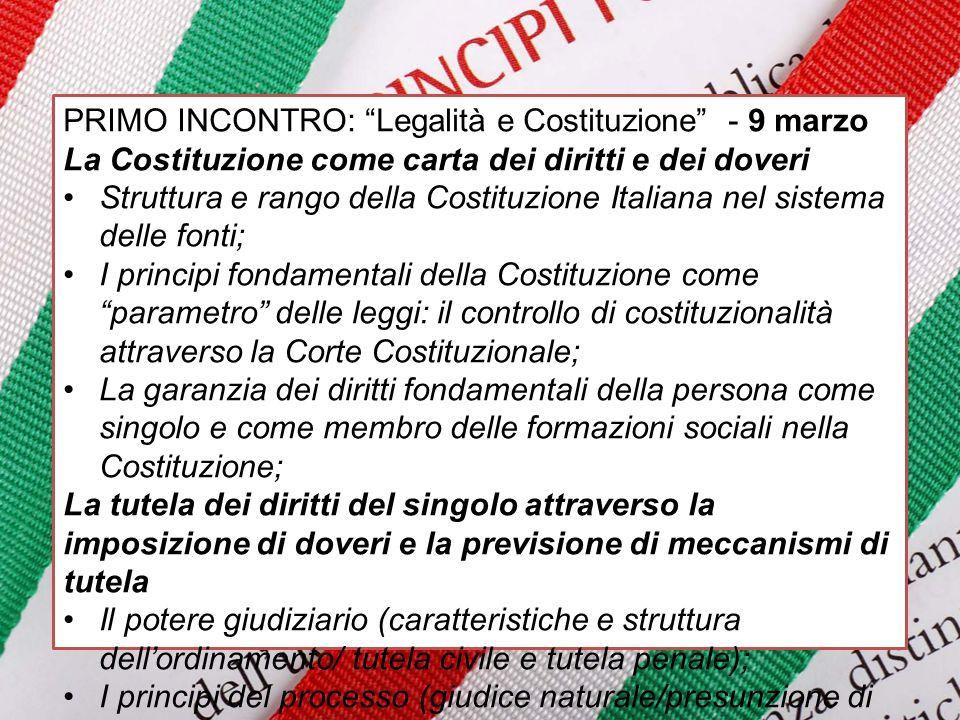 """PRIMO INCONTRO: """"Legalità e Costituzione"""" - 9 marzo La Costituzione come carta dei diritti e dei doveri Struttura e rango della Costituzione Italiana"""