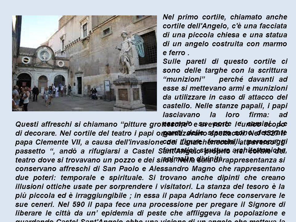 """Questi affreschi si chiamano """"pitture grottesche"""" e avevano l 'unico scopo di decorare. Nel cortile del teatro i papi organizzavano spettacoli. Nel 15"""