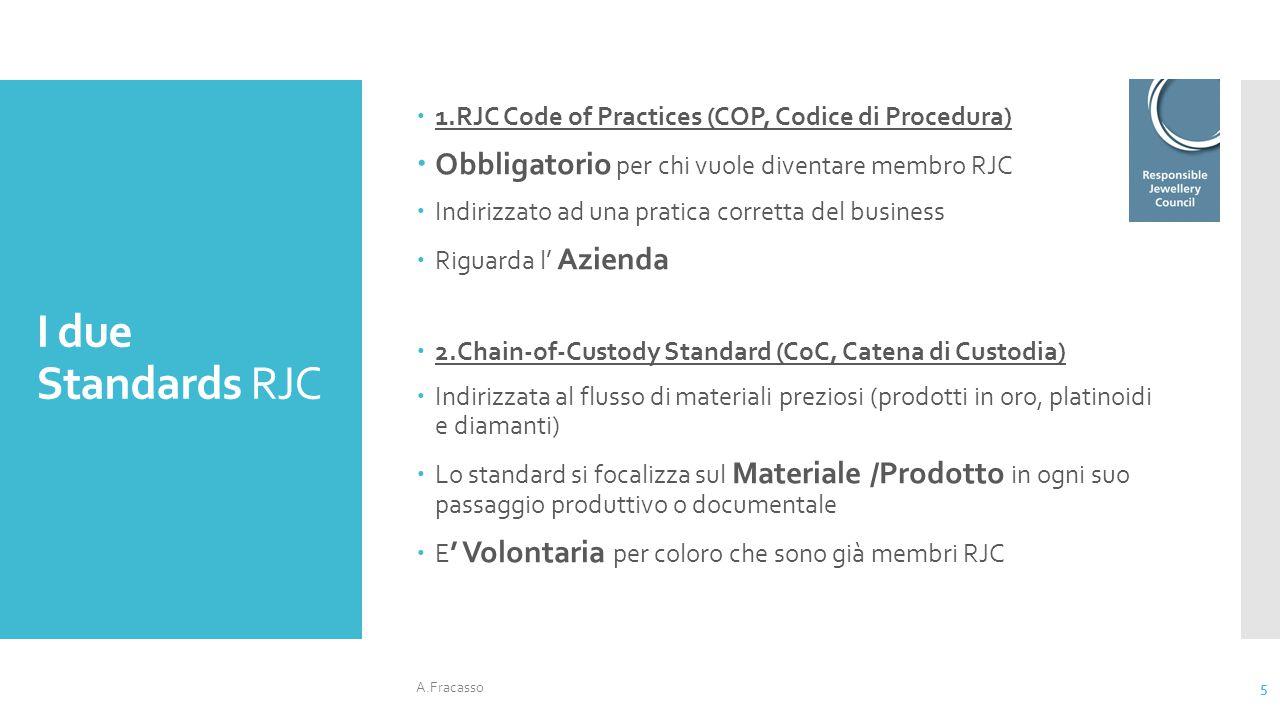 I due Standards RJC  1.RJC Code of Practices (COP, Codice di Procedura)  Obbligatorio per chi vuole diventare membro RJC  Indirizzato ad una pratic