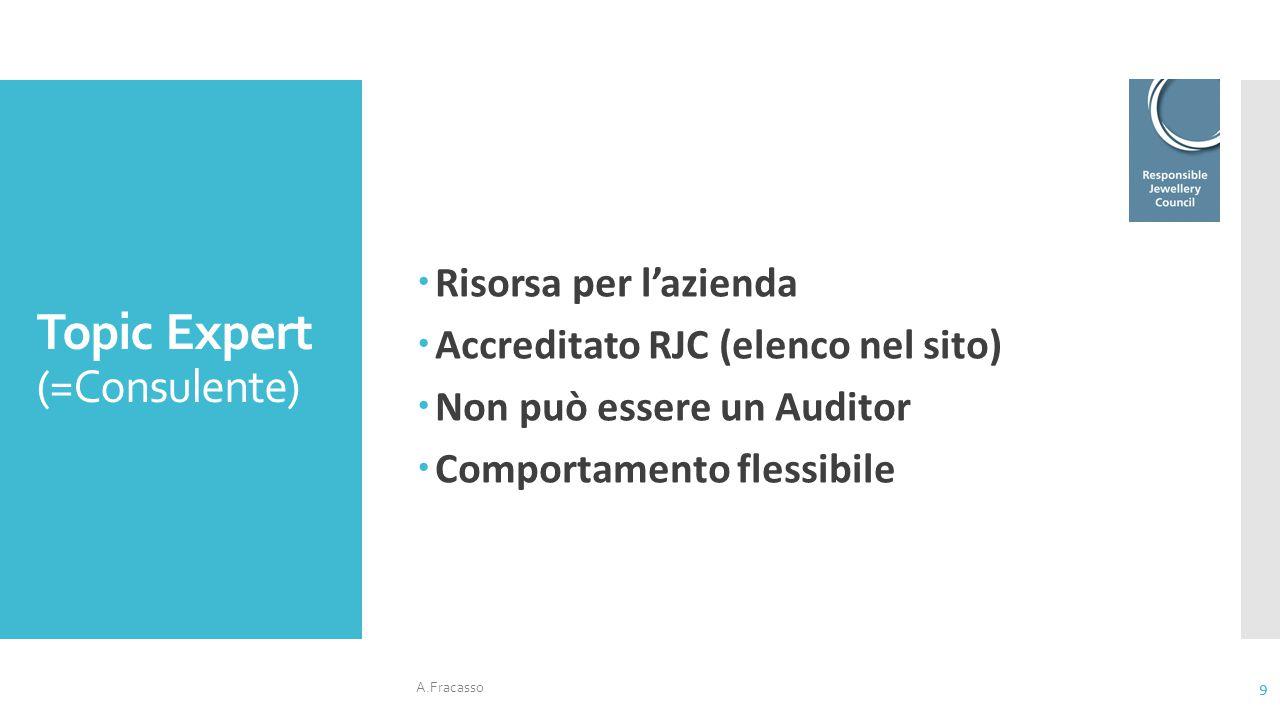 Topic Expert (=Consulente)  Risorsa per l'azienda  Accreditato RJC (elenco nel sito)  Non può essere un Auditor  Comportamento flessibile A.Fracas