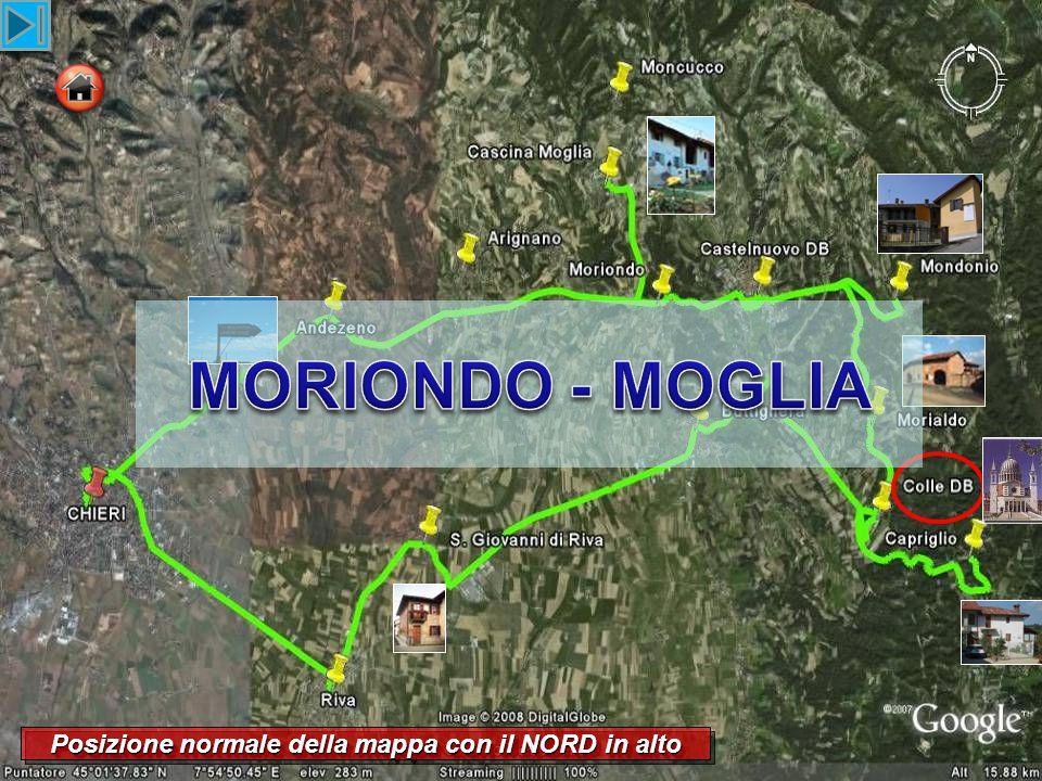 Posizione normale della mappa con il NORD in alto