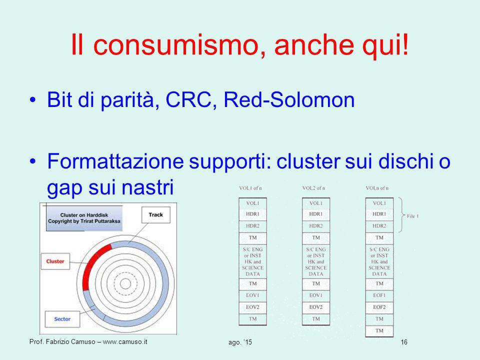 16 Prof. Fabrizio Camuso – www.camuso.it ago. '15 Il consumismo, anche qui! Bit di parità, CRC, Red-Solomon Formattazione supporti: cluster sui dischi
