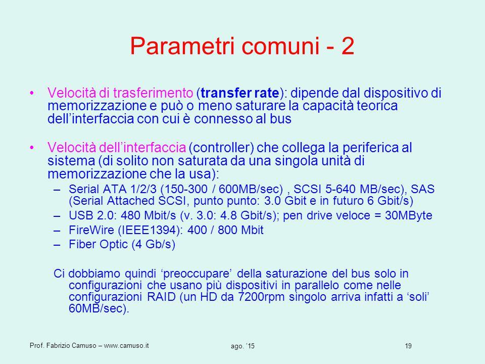 19 Prof. Fabrizio Camuso – www.camuso.it ago. '15 Parametri comuni - 2 Velocità di trasferimento (transfer rate): dipende dal dispositivo di memorizza