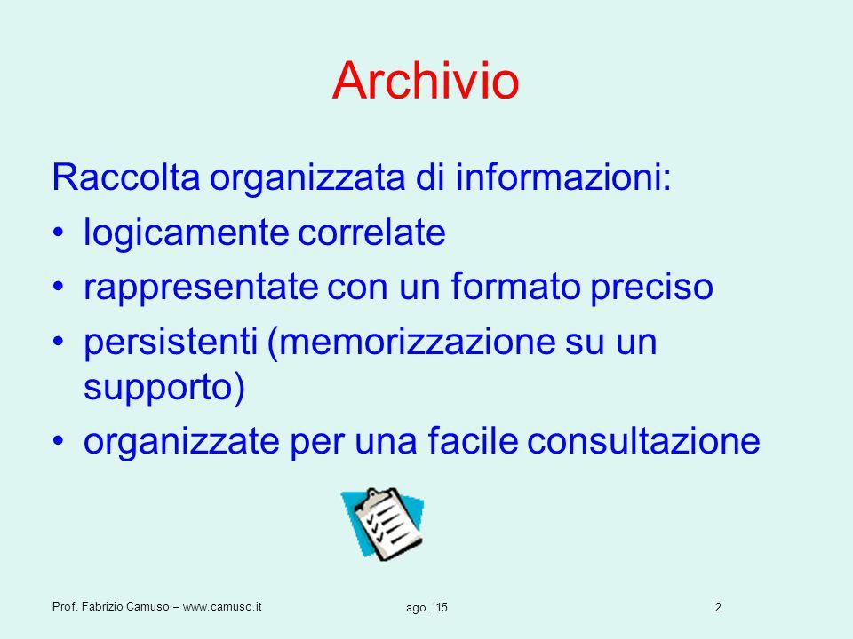 2 Prof. Fabrizio Camuso – www.camuso.it ago. '15 Archivio Raccolta organizzata di informazioni: logicamente correlate rappresentate con un formato pre