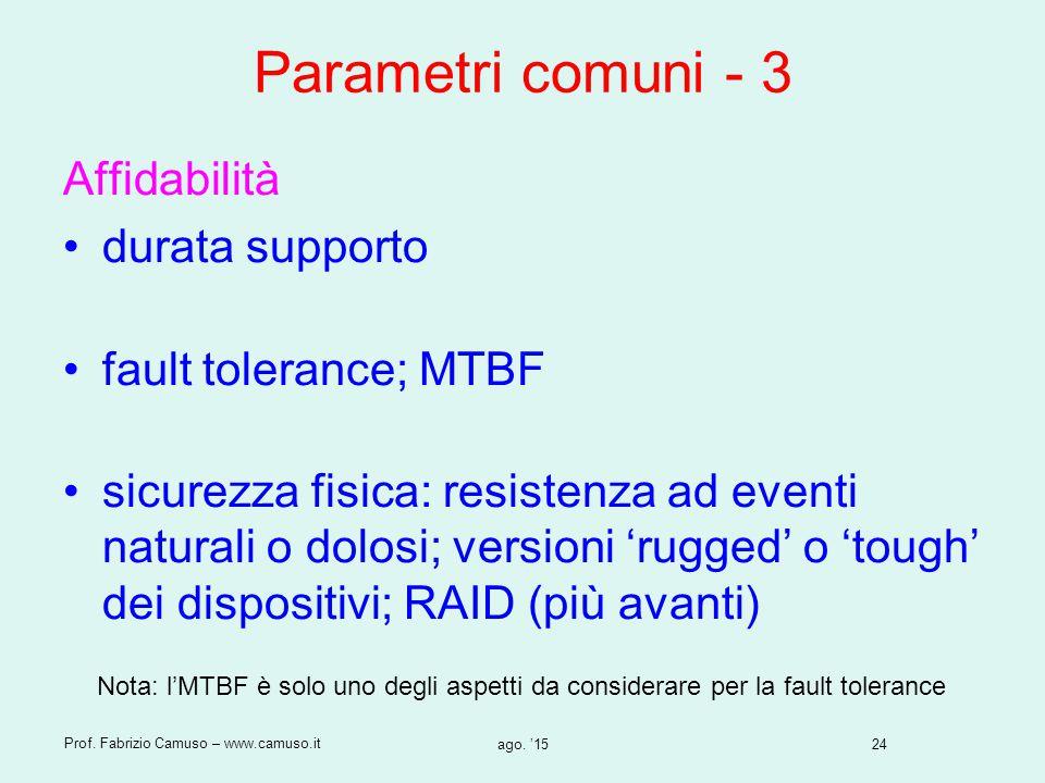 24 Prof. Fabrizio Camuso – www.camuso.it ago. '15 Parametri comuni - 3 Affidabilità durata supporto fault tolerance; MTBF sicurezza fisica: resistenza