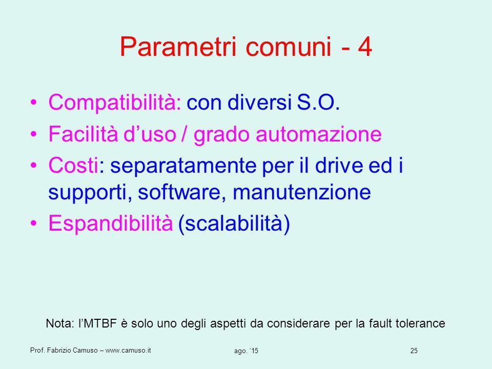 25 Prof. Fabrizio Camuso – www.camuso.it ago. '15 Parametri comuni - 4 Compatibilità: con diversi S.O. Facilità d'uso / grado automazione Costi: separ