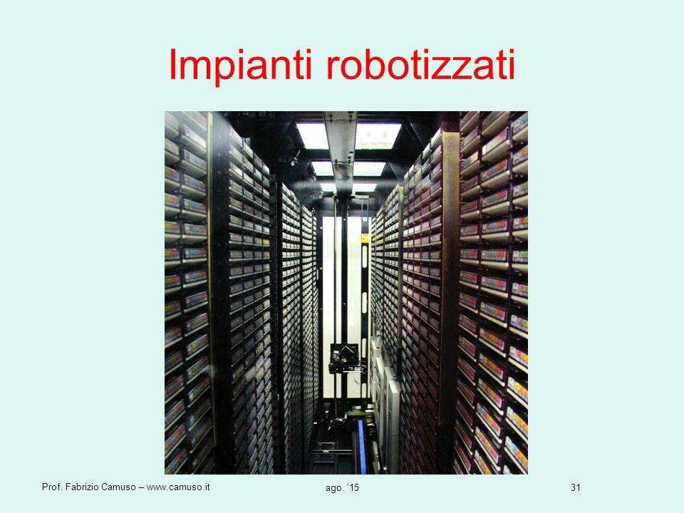 31 Prof. Fabrizio Camuso – www.camuso.it ago. '15 Impianti robotizzati