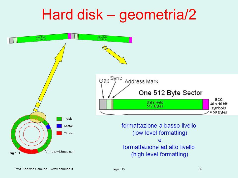 36 Prof. Fabrizio Camuso – www.camuso.it ago. '15 Hard disk – geometria/2 formattazione a basso livello (low level formatting) e formattazione ad alto