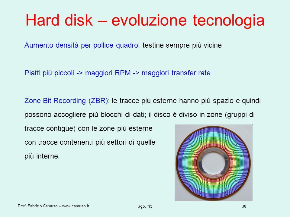 38 Prof. Fabrizio Camuso – www.camuso.it ago. '15 Hard disk – evoluzione tecnologia Aumento densità per pollice quadro: testine sempre più vicine Piat