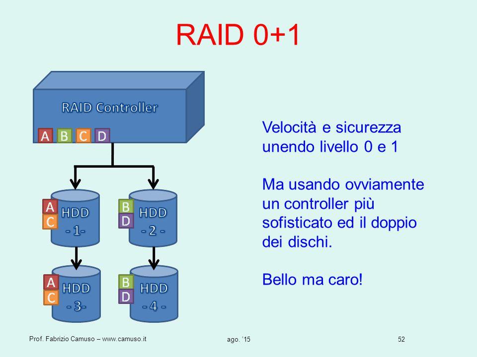 52 Prof. Fabrizio Camuso – www.camuso.it ago. '15 RAID 0+1 Velocità e sicurezza unendo livello 0 e 1 Ma usando ovviamente un controller più sofisticat