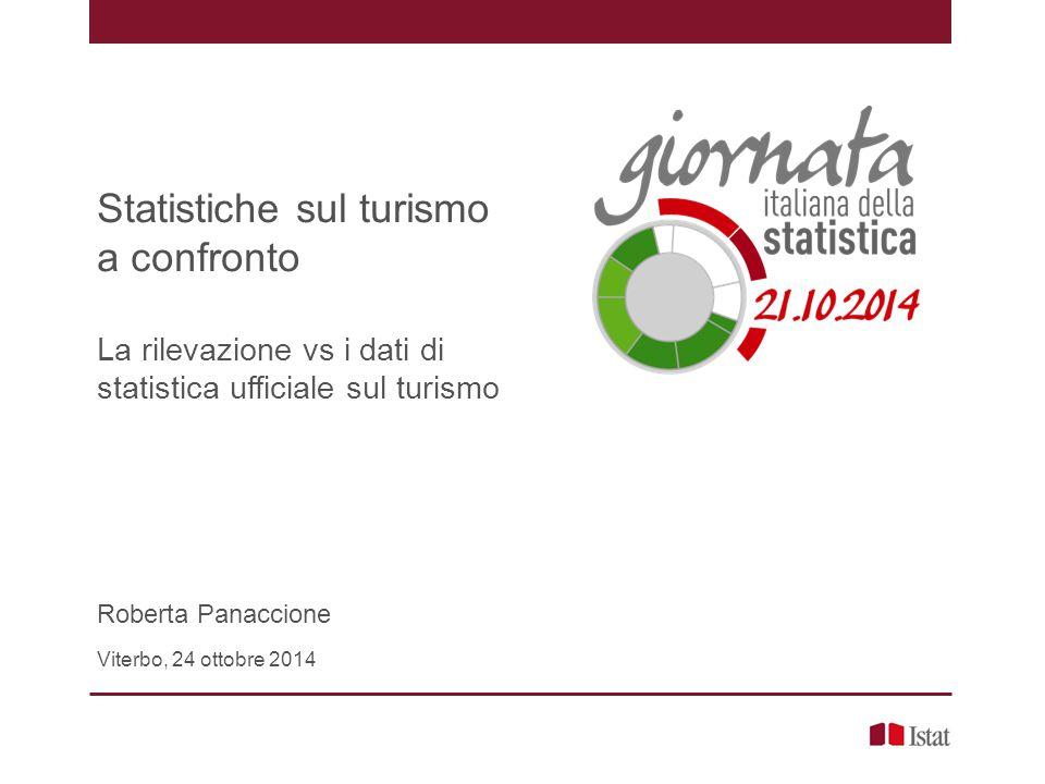 Statistiche sul turismo a confronto La rilevazione vs i dati di statistica ufficiale sul turismo Roberta Panaccione Viterbo, 24 ottobre 2014
