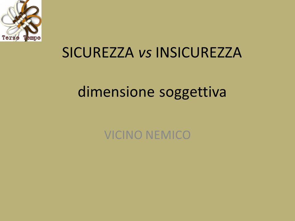 SICUREZZA vs INSICUREZZA dimensione soggettiva VICINO NEMICO
