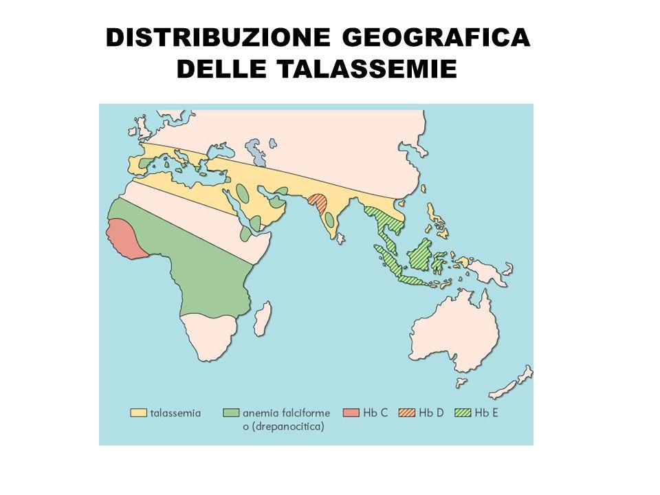 DISTRIBUZIONE GEOGRAFICA DELLE TALASSEMIE