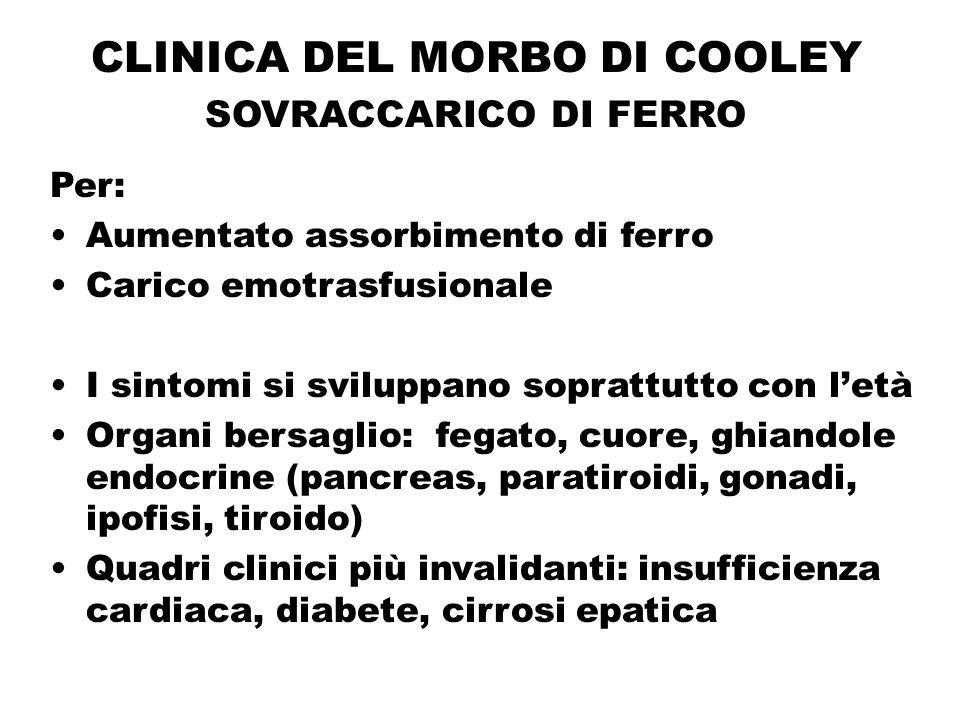 CLINICA DEL MORBO DI COOLEY SOVRACCARICO DI FERRO Per: Aumentato assorbimento di ferro Carico emotrasfusionale I sintomi si sviluppano soprattutto con