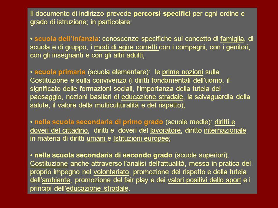 Il documento di indirizzo prevede percorsi specifici per ogni ordine e grado di istruzione; in particolare: scuola dell'infanzia: conoscenze specifich