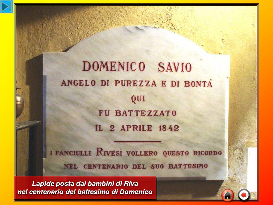 Lapide posta dai bambini di Riva nel centenario del battesimo di Domenico Lapide posta dai bambini di Riva nel centenario del battesimo di Domenico