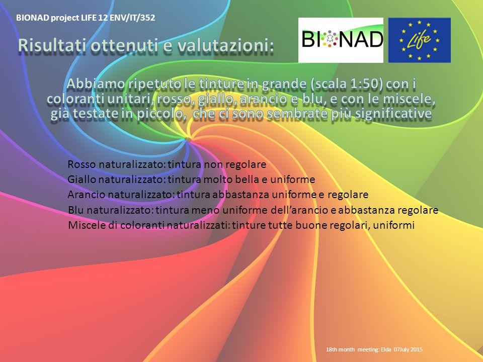 BIONAD project LIFE 12 ENV/IT/352 18th month meeting: Elda 07July 2015 Rosso naturalizzato: tintura non regolare Giallo naturalizzato: tintura molto b