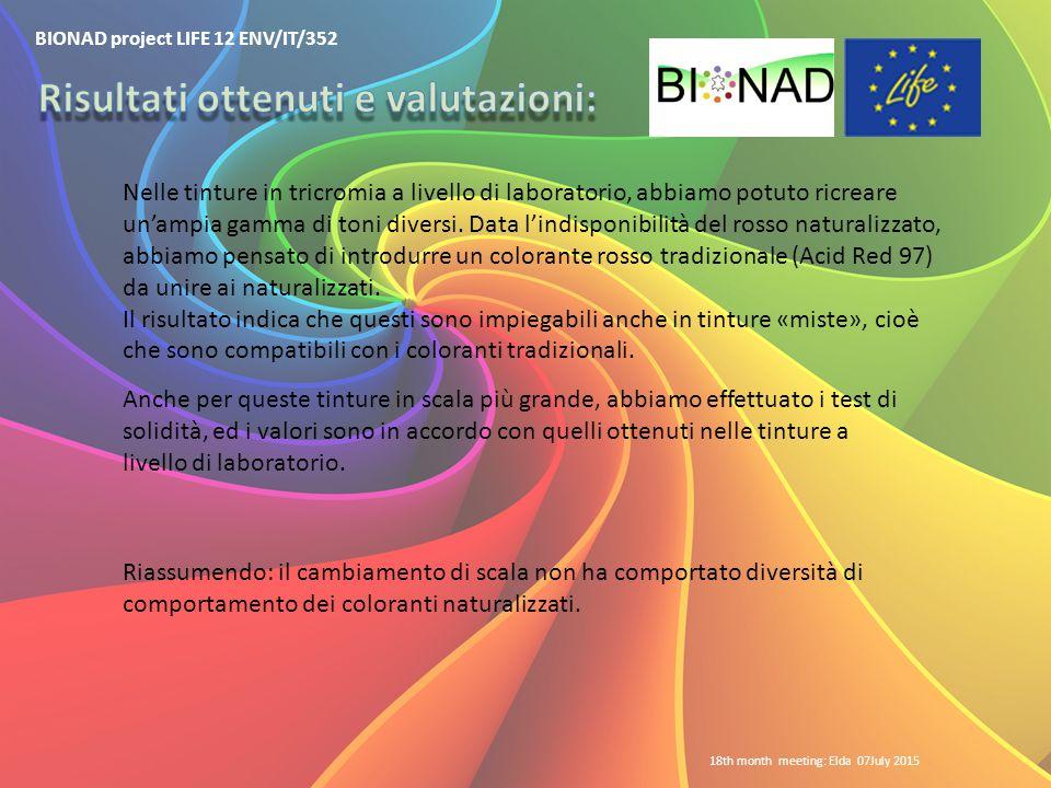 BIONAD project LIFE 12 ENV/IT/352 18th month meeting: Elda 07July 2015 Nelle tinture in tricromia a livello di laboratorio, abbiamo potuto ricreare un