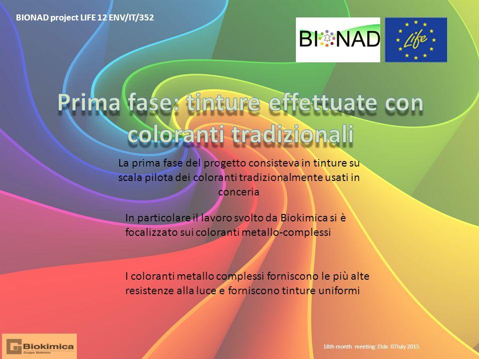 BIONAD project LIFE 12 ENV/IT/352 La prima fase del progetto consisteva in tinture su scala pilota dei coloranti tradizionalmente usati in conceria In
