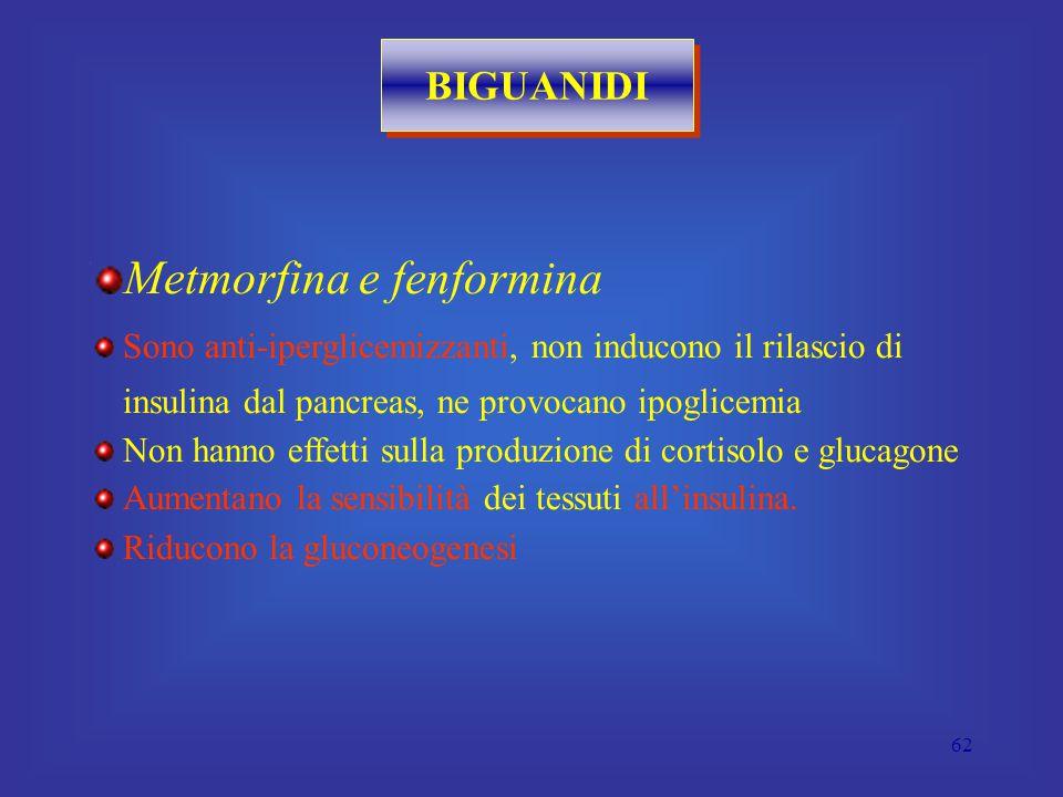 62 BIGUANIDI Metmorfina e fenformina Sono anti-iperglicemizzanti, non inducono il rilascio di insulina dal pancreas, ne provocano ipoglicemia Non hanno effetti sulla produzione di cortisolo e glucagone Aumentano la sensibilità dei tessuti all'insulina.