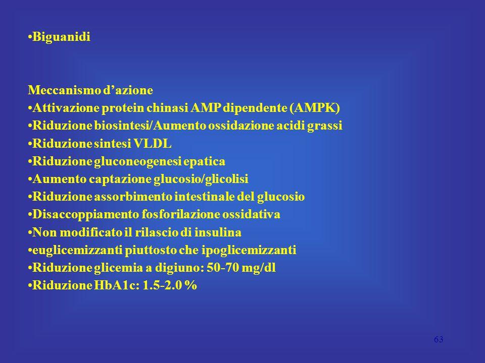 63 Biguanidi Meccanismo d'azione Attivazione protein chinasi AMP dipendente (AMPK) Riduzione biosintesi/Aumento ossidazione acidi grassi Riduzione sintesi VLDL Riduzione gluconeogenesi epatica Aumento captazione glucosio/glicolisi Riduzione assorbimento intestinale del glucosio Disaccoppiamento fosforilazione ossidativa Non modificato il rilascio di insulina euglicemizzanti piuttosto che ipoglicemizzanti Riduzione glicemia a digiuno: 50-70 mg/dl Riduzione HbA1c: 1.5-2.0 %