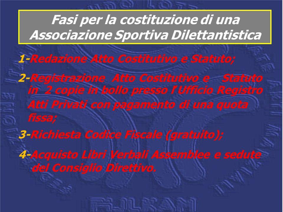 Fasi per la costituzione di una Associazione Sportiva Dilettantistica 1-Redazione Atto Costitutivo e Statuto; 2-Registrazione Atto Costitutivo e Statu