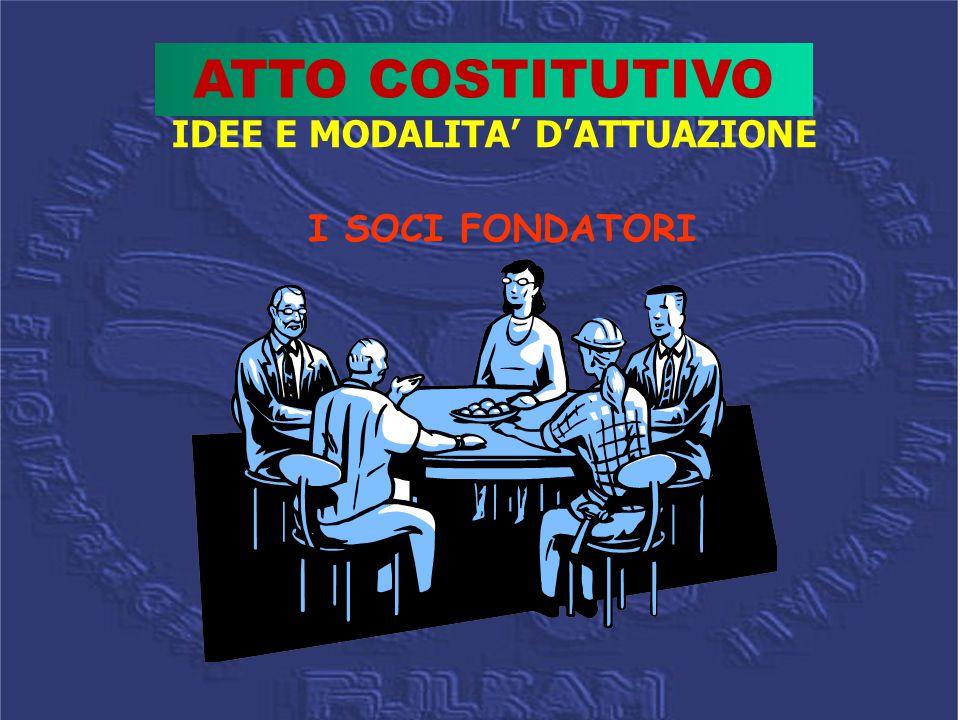 IDEE E MODALITA' D'ATTUAZIONE I SOCI FONDATORI ATTO COSTITUTIVO