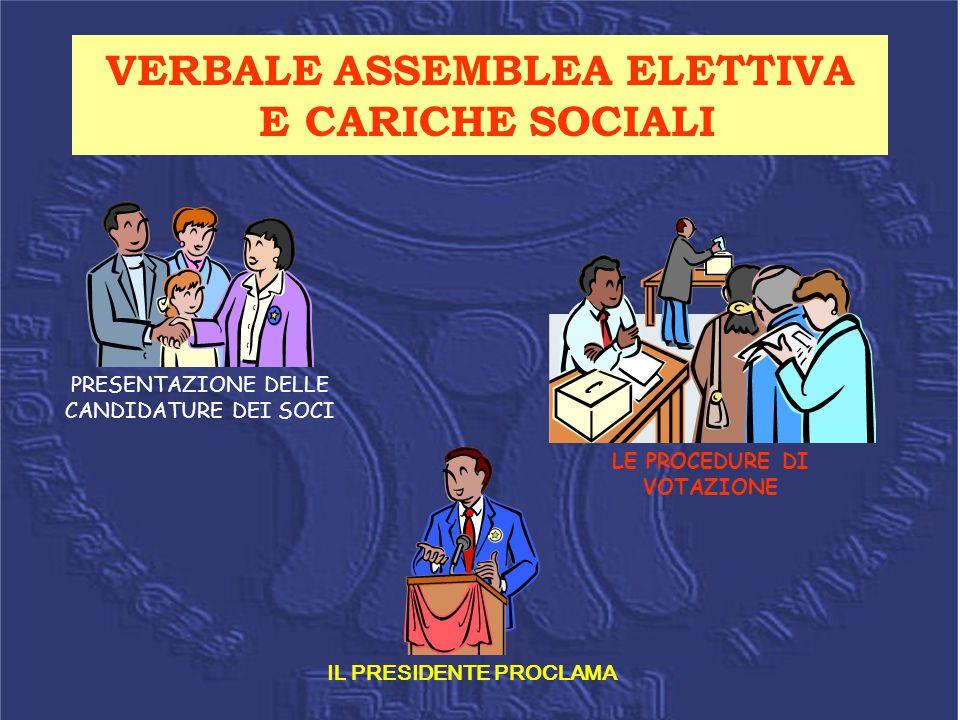 VERBALE ASSEMBLEA ELETTIVA E CARICHE SOCIALI PRESENTAZIONE DELLE CANDIDATURE DEI SOCI LE PROCEDURE DI VOTAZIONE IL PRESIDENTE PROCLAMA