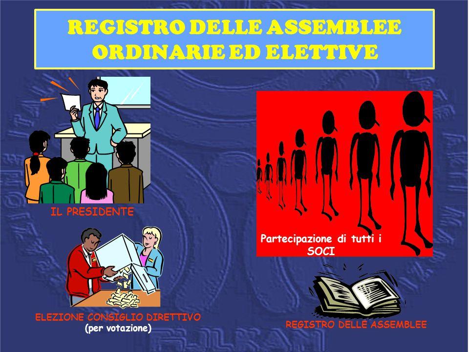 REGISTRO DELLE ASSEMBLEE ORDINARIE ED ELETTIVE IL PRESIDENTE Partecipazione di tutti i SOCI ELEZIONE CONSIGLIO DIRETTIVO (per votazione) REGISTRO DELL