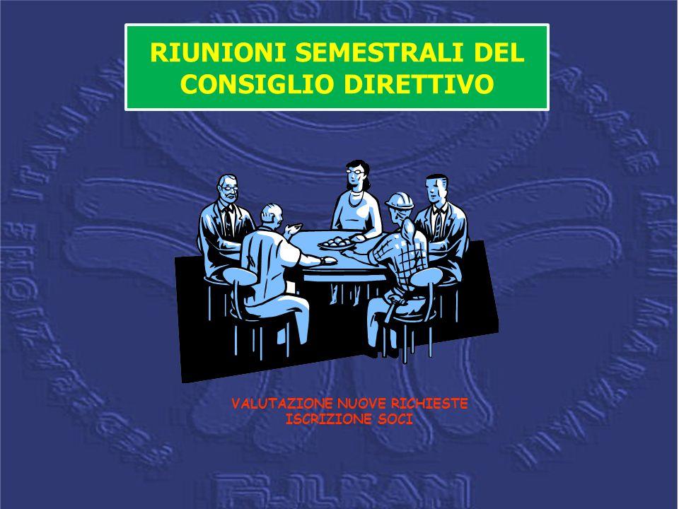 RIUNIONI SEMESTRALI DEL CONSIGLIO DIRETTIVO VALUTAZIONE NUOVE RICHIESTE ISCRIZIONE SOCI
