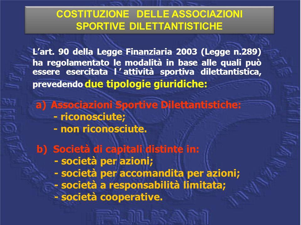 L'art. 90 della Legge Finanziaria 2003 (Legge n.289) ha regolamentato le modalità in base alle quali può essere esercitata l'attività sportiva diletta