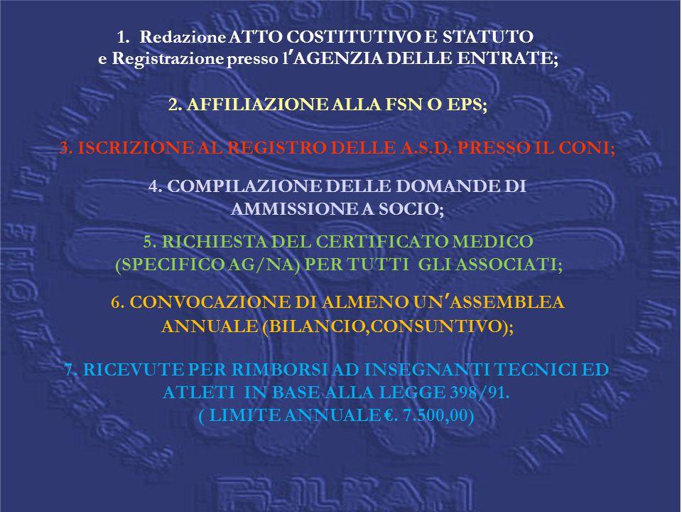 1. Redazione ATTO COSTITUTIVO E STATUTO e Registrazione presso l'AGENZIA DELLE ENTRATE; 2. AFFILIAZIONE ALLA FSN O EPS; 3. ISCRIZIONE AL REGISTRO DELL