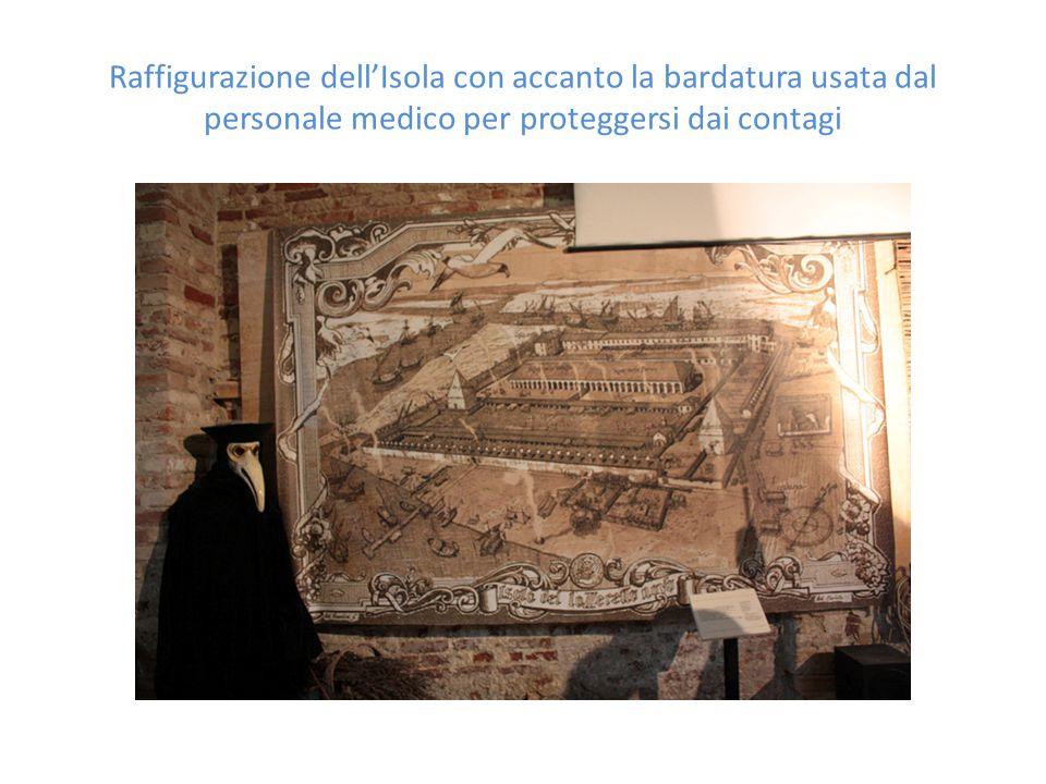 Raffigurazione dell'Isola con accanto la bardatura usata dal personale medico per proteggersi dai contagi