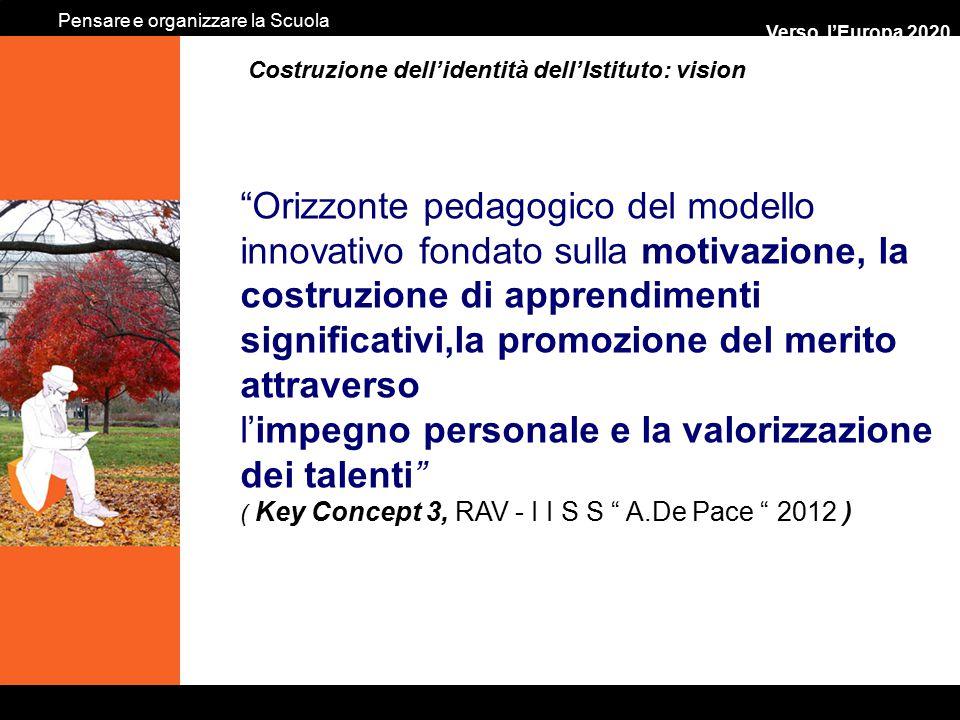 """… Verso l'Europa 2020 """"Orizzonte pedagogico del modello innovativo fondato sulla motivazione, la costruzione di apprendimenti significativi,la promozi"""