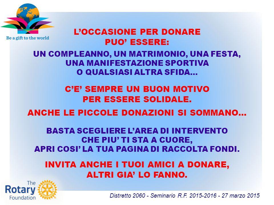 Distretto 2060 - Seminario R.F. 2015-2016 - 27 marzo 2015 L'OCCASIONE PER DONARE PUO' ESSERE: C'E' SEMPRE UN BUON MOTIVO PER ESSERE SOLIDALE. ANCHE LE