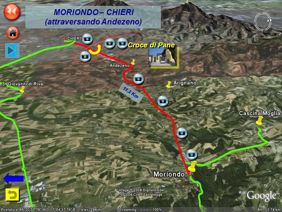 11,2 Km MORIONDO – CHIERI (attraversando Andezeno) MORIONDO – CHIERI (attraversando Andezeno) Croce di Pane
