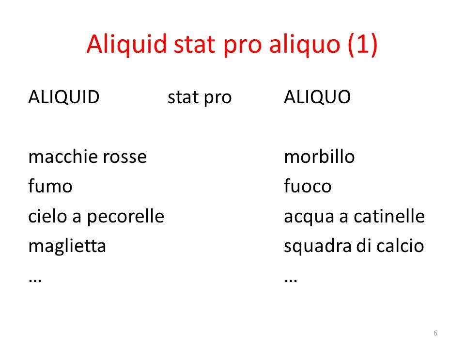 Aliquid stat pro aliquo (2) RINVIO AB Inferenza SEGNO Tutto può essere segno.