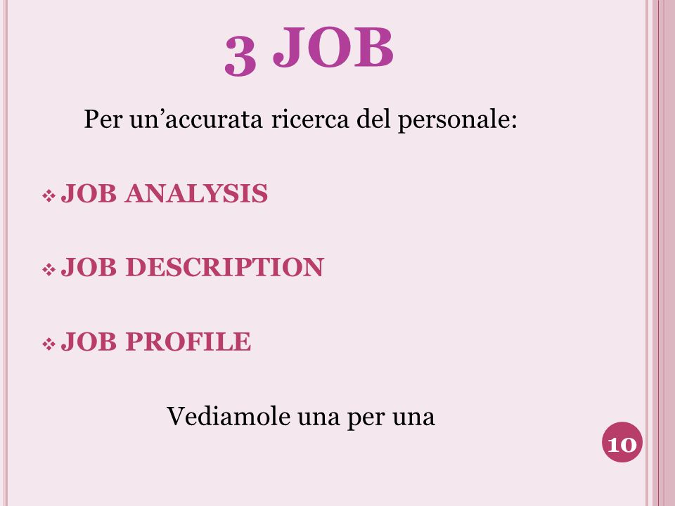3 JOB Per un'accurata ricerca del personale:  JOB ANALYSIS  JOB DESCRIPTION  JOB PROFILE Vediamole una per una 10