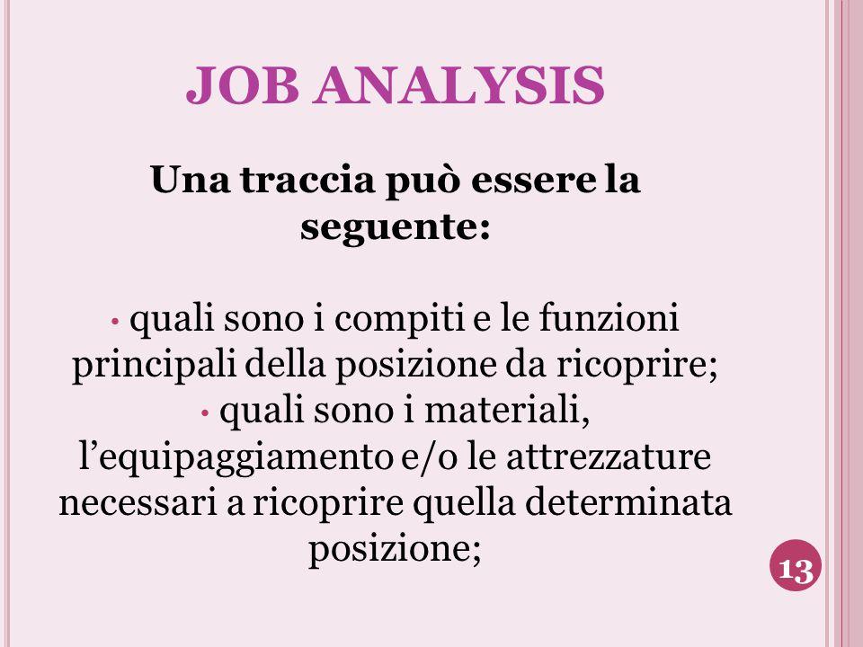 JOB ANALYSIS Una traccia può essere la seguente: quali sono i compiti e le funzioni principali della posizione da ricoprire; quali sono i materiali, l