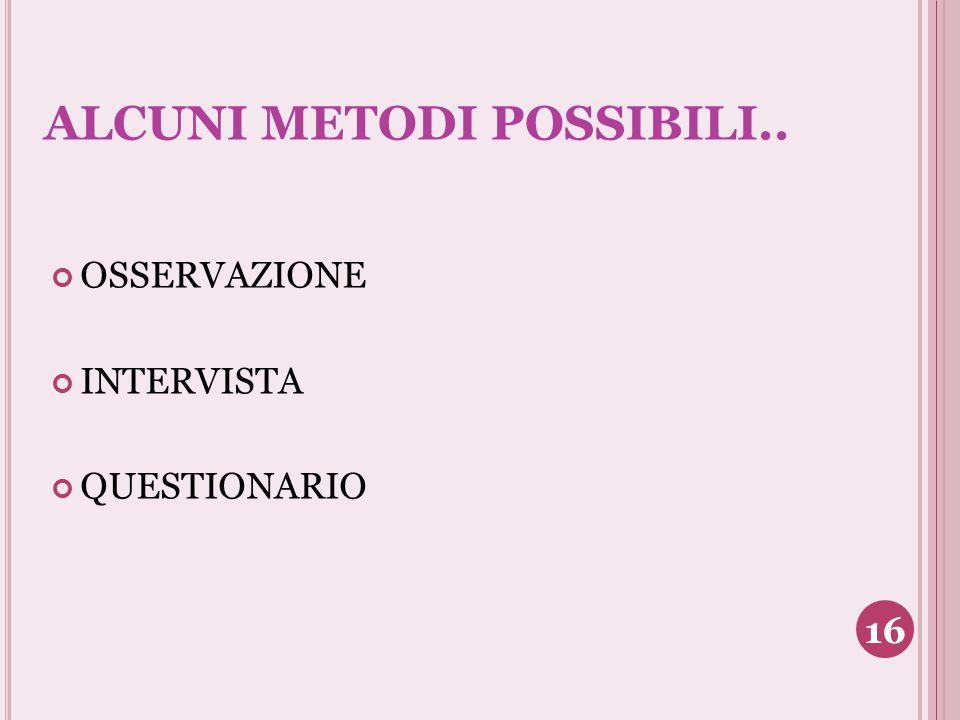 ALCUNI METODI POSSIBILI.. OSSERVAZIONE INTERVISTA QUESTIONARIO 16