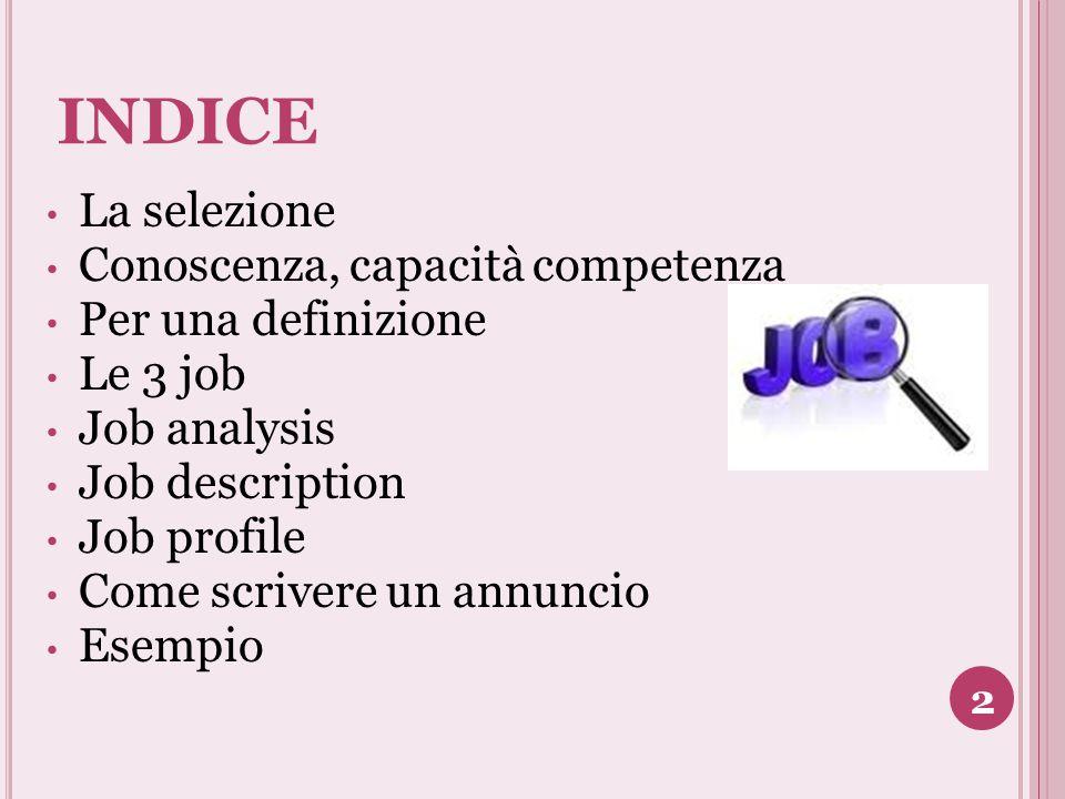 INDICE La selezione Conoscenza, capacità competenza Per una definizione Le 3 job Job analysis Job description Job profile Come scrivere un annuncio Es